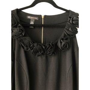 INC Black Sleeveless Rosette Sheath Dress Size 18